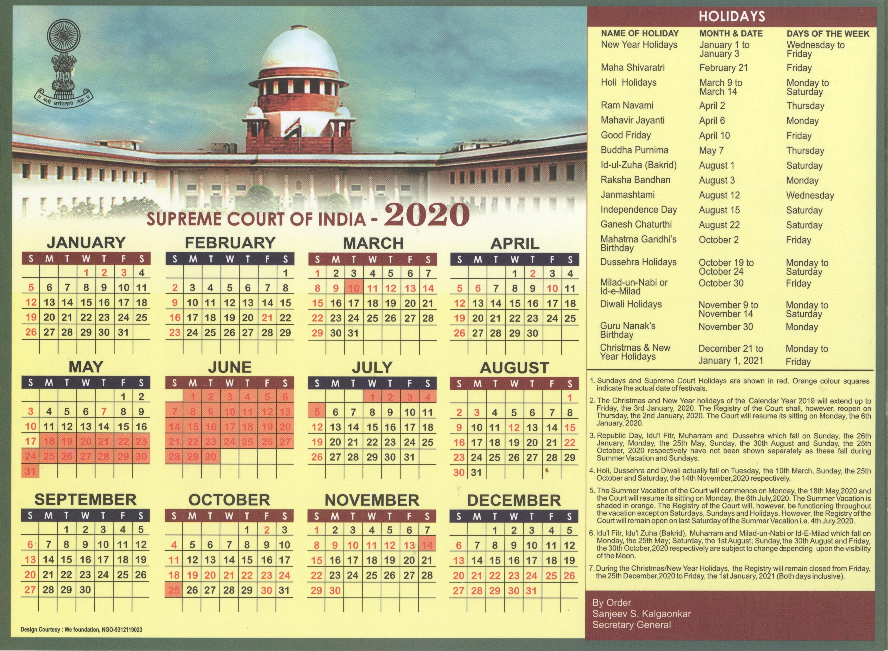 Supreme Court Calendar 2022.Calendar Supreme Court Of India