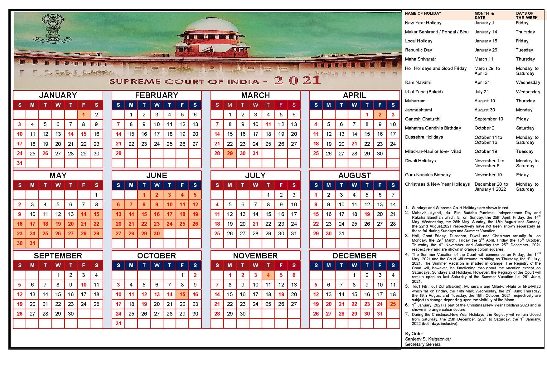 Indian Calendar 2022.Calendar Supreme Court Of India